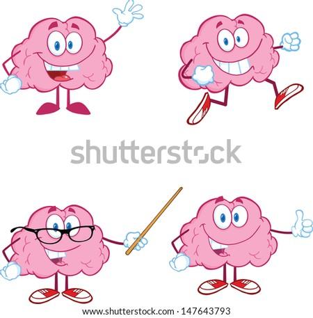 Brain Cartoon Mascot Collection 1 - stock vector
