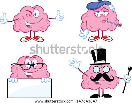 Brain Cartoon Mascot Collection 7 - stock vector