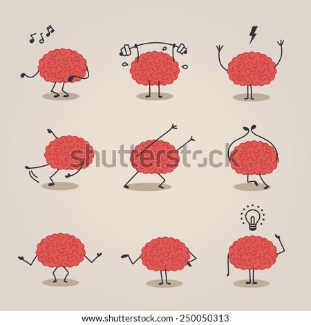 Brain character - stock vector