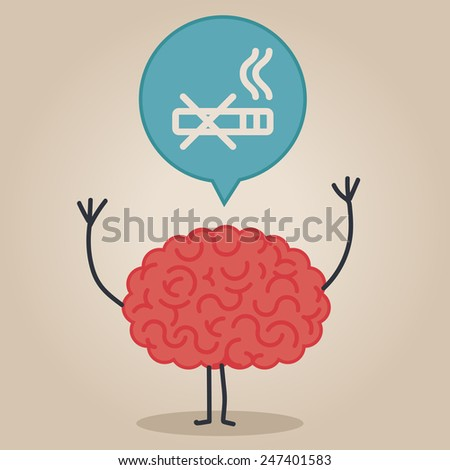 Brain character with a bubble chat: no smoking - stock vector