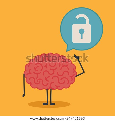 Brain character with a bubble chat: unlocked brain - stock vector