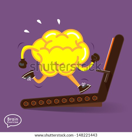 Brain charactor vector design fitness for smart brain with running - stock vector