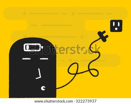 brain charger - stock vector