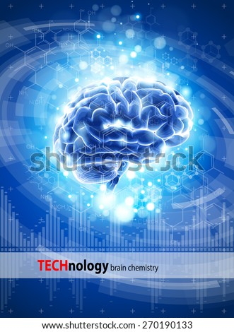 brain, chemical formulas & lights - blue technology concept / vector illustration / eps10 - stock vector