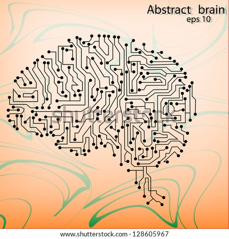 brain circuit board vector background - stock vector