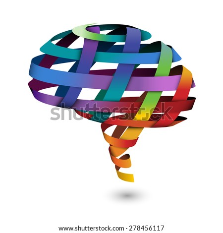 Brain composed of ribbon, eps10 vector - stock vector