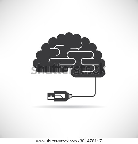 brain connected, Artificial Intelligence Concept - stock vector