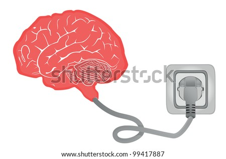 brain connecting with electric socket - vector illustration - stock vector