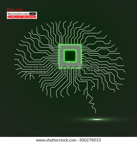 Brain. Cpu. Microprocessor. Circuit board. Abstract technology background. Vector illustration. Eps 10 - stock vector