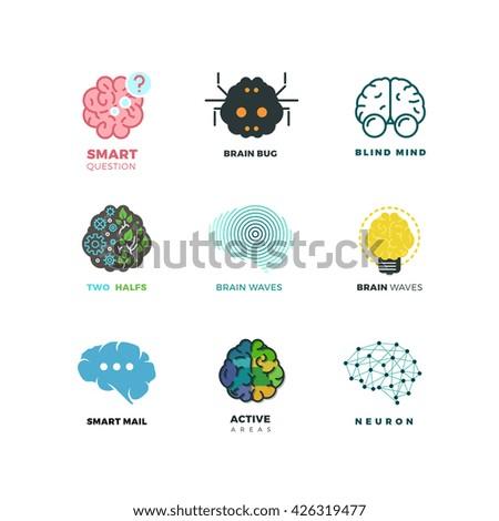 Brain, creation, invention, inspiration, idea vector icons. Inspiration brain logo and idea brain creation illustration - stock vector