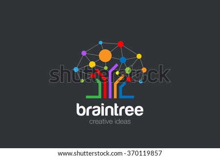 Brain Creative Ideas Logo design vector template. Brainstorming Social Logo Tree Network. Social Network Tree concept Logotype. Brainstorming icon - stock vector