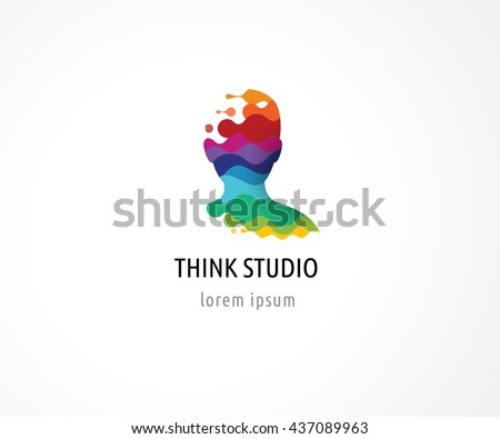 Brain, Creative mind, learning and design icon. Man head, people symbol - stock vector