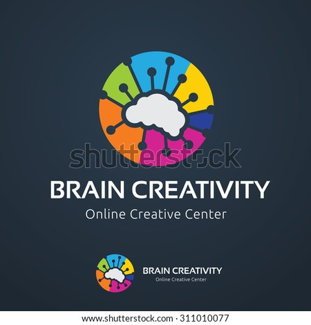 Brain Creativity logo,Brain logo,Education logo,Learning,Mine and Planning logo.Vector Logo Template. - stock vector