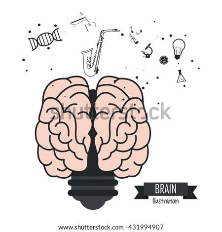 Brain design. Mind icon. Colorful illustration - stock vector