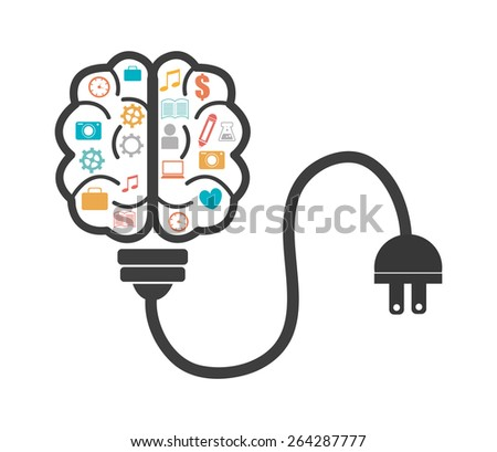 Brain design over white background, vector illustration. - stock vector