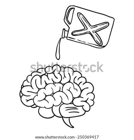 brain doodle hand drawn vector illustration - stock vector