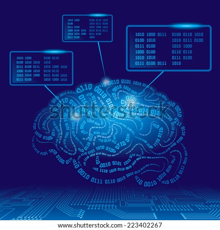 Brain drawn with binary codes. Eps8. CMYK. Organized by layers. Global colors. Gradients used. - stock vector