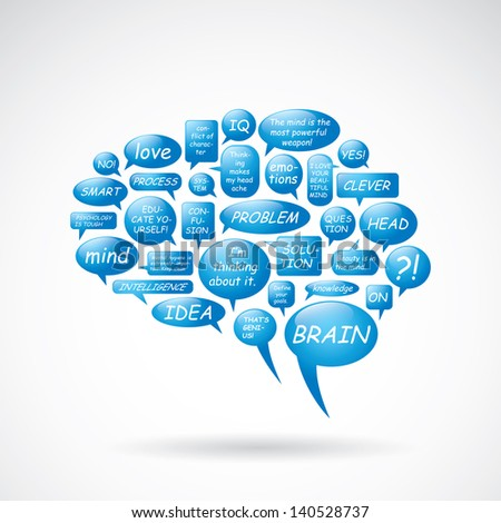 Brain from text balloons - vector illustration - stock vector