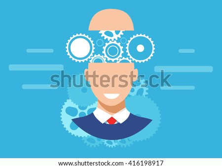 Brain gear flat vector banner, Brainstorm vector, Brainstorming creative idea abstract icon - stock vector