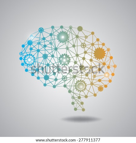 brain gear polygon - stock vector