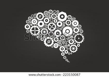 Brain Gears And Cogs On Blackboard - stock vector