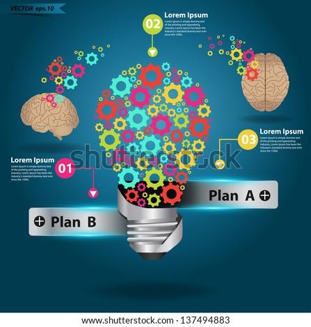 Brain gears in light bulb idea, Vector illustration template design - stock vector