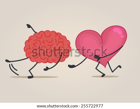 Brain & heart characters - stock vector