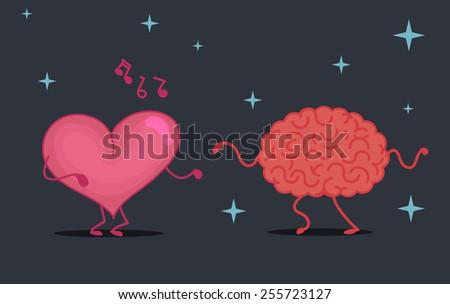 Brain & heart characters dancing - stock vector