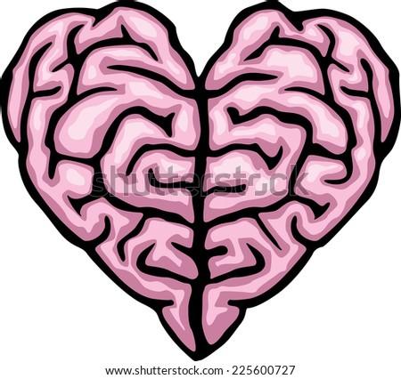 Brain heart. Eps8. CMYK. Global colors.Gradients free - stock vector