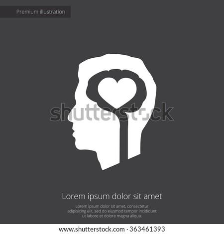 brain heart icon, on dark background - stock vector