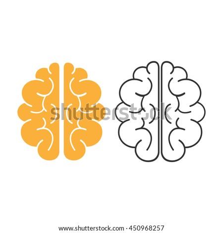 Brain icon. Brain Vector isolated on white background. Flat vector illustration in black. EPS 10 - stock vector