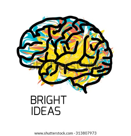 Brain icon isolated on white background. VECTOR eps illustration. Creative brain Idea concept background design layout for poster flyer cover brochure.  - stock vector