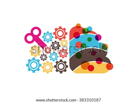 brain icon, left and right brain, creative and analytical, thinking concept, isolated on white background - stock vector