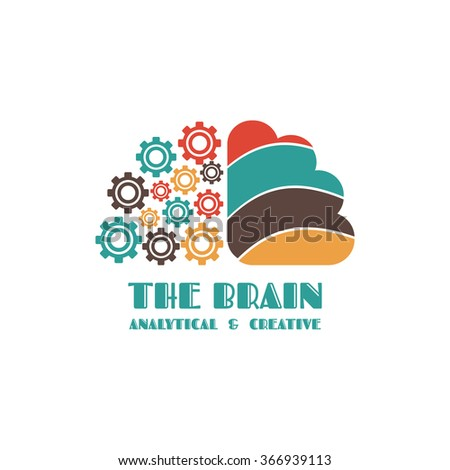 brain icon, left and right brain, thinking concept, isolated on white background - stock vector