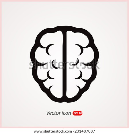 brain icon, vector illustration. Flat design style - stock vector