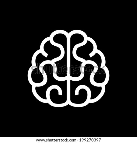 Brain Icon. Vector Illustration on Black Background - stock vector