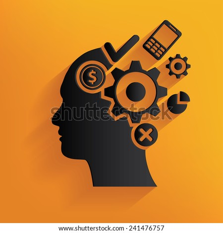 Brain idea design on yellow background,clean vector - stock vector