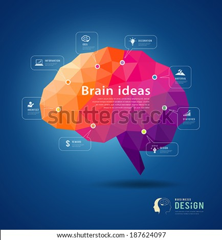Brain idea geometric info graphics design background, vector illustration - stock vector