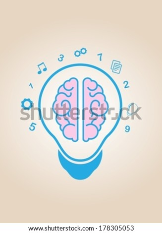 brain idea light bulb eps10 - stock vector