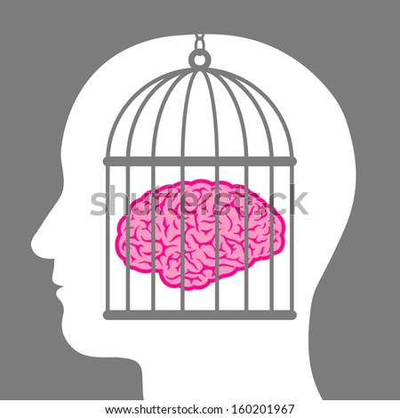 Brain in a cage with a male head depicting a lack of freedom of thought and a man who is a captive and no longer free to innovate or create but is controlled - stock vector