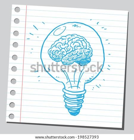 Brain in lightbulb - stock vector