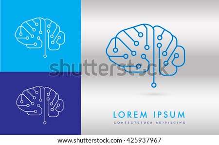 BRAIN INCORPORATED WITH DIGITAL CIRCUIT , LOGO / ICON  - stock vector