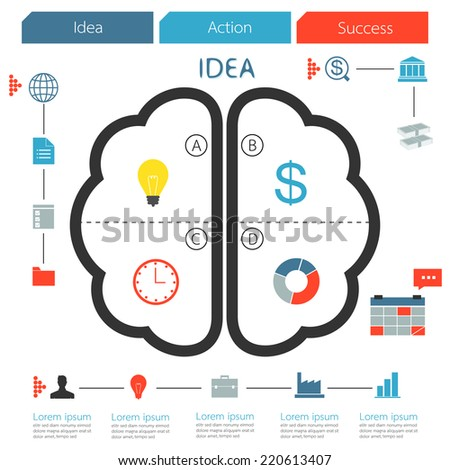 Brain infographic creative idea. step of business concept - stock vector
