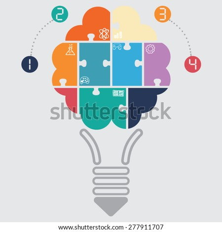 brain jigsaw - stock vector