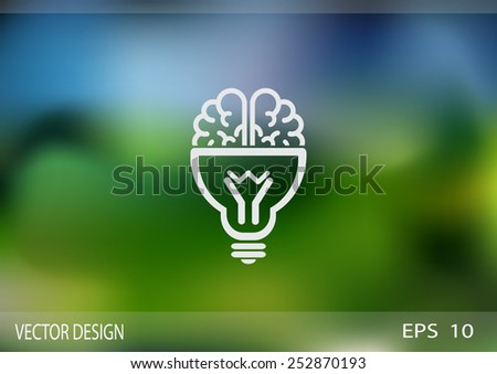 Brain light bulb icon - stock vector