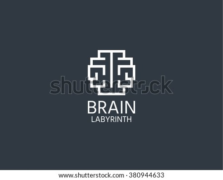 Brain Logo. Brain Logo sing. Brain Logo vector concept. Brain Logo for learning ,education.  Brain Logo isolated concept . Brain Logo emblem in geometric hipster style. Brain Logo - stock vector - stock vector