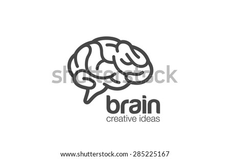 Brain Logo design vector template. Generate idea. Brainstorming logotype concept icon. - stock vector