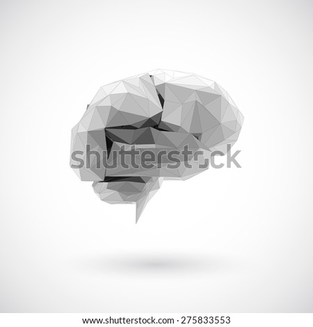 Brain low polygon, Idea concept background design for poster flyer cover brochure, business idea. - stock vector