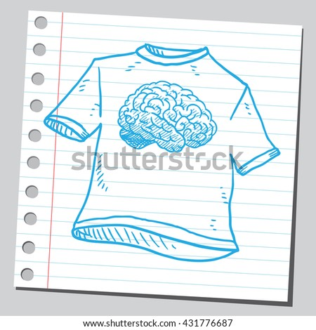 Brain on t-shirt - stock vector