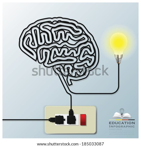 Brain Shape Electricline Education Infographic Background Design Template - stock vector